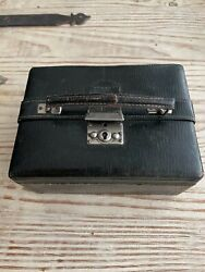 Victorian Antique English Black Leather Jewelry Box $109.99