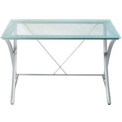 Zentra contemporary Main Desk Silver Clear  $245.00