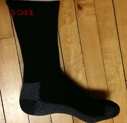 6 Pairs Mens Black Snap On Crew Socks L FREE Shipping MADE IN USA New
