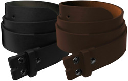 Mens Heavy Duty No Buckle Snap on Smooth Grain Leather Casual Belt Strap 1.5quot; $9.95