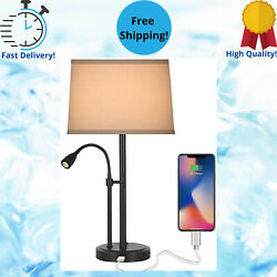 Modern Table Lamp with USB Port Gooseneck LED Black Reading Nightstand with Bulb $65.70