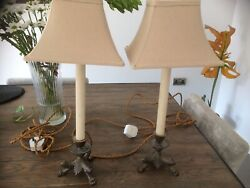2 x antique lamps amp; shades with lions feet GBP 225.00
