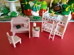 Calico critters Sylvania Families Pink Bedroom with Bunk Beds and Desk🌸 $35.00