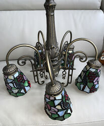 Tiffany Style Stained Glass 5 Light hanging Chandelier vintage blue birds $175.00