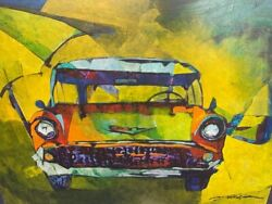 NEW YUVAL WOLFSON ORIGIAL OIL quot;ANTIQUE AUTO #3 18 X 24quot; .... MAKE OFFER.. $245.00
