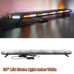 60quot; LED Emergency Beacon Strobe Light Bar Warning Truck Tow Roof Top Amber White $250.23