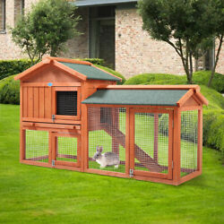 58quot; Wooden Chicken Coop 2 Tier Rabbit Hutch Small Animal Poultry House W Run $159.49