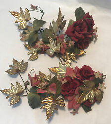 2 PC. HOMCO HOME INTERIOR COPPER BRASS LEAVES WALL FLOWERS $11.99