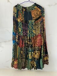 Patchwork Skirt Long Boho Maxi Hippie Gypsy Tiered 100% Multi Colored Rayon $39.99