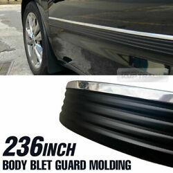 Black amp; Chrome Body Belt Exterior Side Molding Protector Roll For Truck Pick up