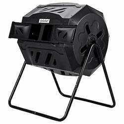 Compost Tumbler Outdoor 45 Gallon Composter Bin Tumbling Rotating with Black $148.40