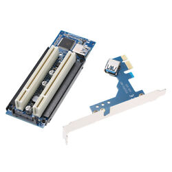 PCI E X1 X4 X8X 16 to Dual PCI Riser Extend Adapter Card with USB 3.0 Cable U5S7 $29.51