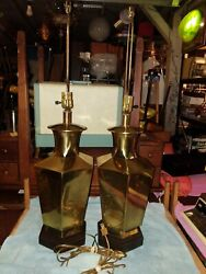 Pair of 1985 Frederick Cooper Ginger Jar 3 Way Brass Table Lamps Asian Pattern $249.99