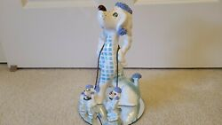 VINTAGE SPAGHETTI POODLE FAMILY KREISS 8 1 2quot; TALL RARE COLORS HAS HAD REPAIR $29.95
