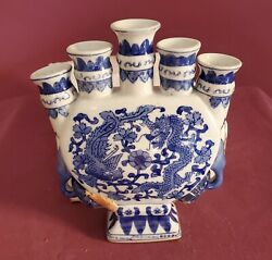5 Candles Ceramic Holder Dragon Oriental Accented Brand New Made in China $12.95