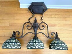 Stained Glass 3 Lamp Pendant Kitchen Island Lighting $299.99