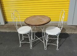 Vintage Ice Cream Parlor Bistro Set Table amp; Pair of Heart Back Chairs $120.00