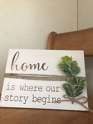 "Farmhouse Rustic Home Is Where Our Story Begins Desk Plaque 8"" x 11"" $11.99"