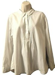 Per Se Blouse Long XL Sleeve White Textured Cotton Pullover Top $16.97