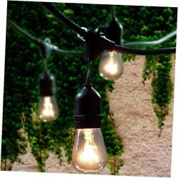 Commercial Grade Outdoor String Lights with 15 Hanging Sockets 48 Ft Black We