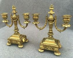 Heavy antique pair of french gilded bronze candlesticks 19th century Louis XVI $329.00