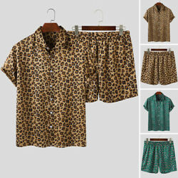 US STOCK Men Short Sleeve Leopard Printed Casual Beach Suits T Shirts Short Sets $24.43