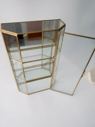 New Vintage Brass amp; Glass Display Cabinet 3 Tier Etched Flowers Wall Mounted $99.00