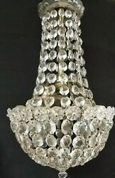 **SWEET Vintage Miniature Empire Chandelier Antique Small Crystal Prisms Petite $475.00