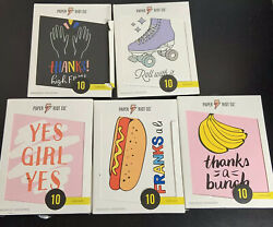 Paper Riot Co.10 Count Blank Cards w Envelopes LOT OF 5 Variety Novelty Funny $20.00