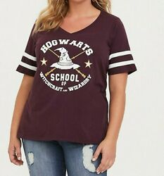 Torrid Plus Size Harry Potter Hogwarts Burgundy Classic Fit Tee Shirt $19.99
