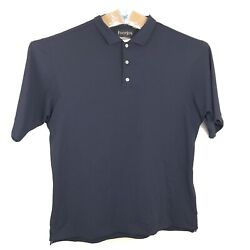 Footjoy Golf Polo Shirt Mens Size L Large Navy Blue Solid Short Sleeve Polyester $19.11