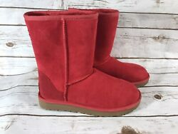 Ugg Boots Red Womens size 8 Australia Classic short no tag lined warm winter $39.00