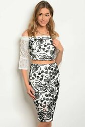 White Black Top amp; Skirt Set $32.00