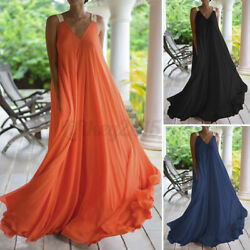 US STOCK Women Summer V Neck Swing Prom Party Dress Long Maxi Dress Plus Size $17.38