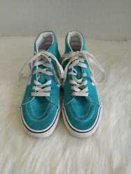 Vans Off The Wall Girls High Top Skateboard Shoes Sneakers Turquoise Size 2 $21.25