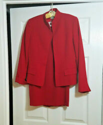AUSTIN REED WOMEN#x27;S RED 2 PIECE SKIRT SUIT SEPARATES 100% WORSTED WOOL SIZE 4 $79.95