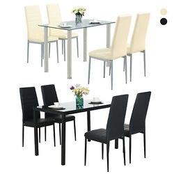 Glass Metal 5 Pieces Dining Table Furniture Sets 4 Leather Chairs Breakfast Nook $249.99