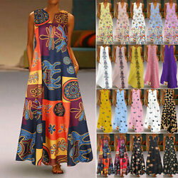 US Women Summer Casual Long Maxi Dress Loose Beach Party Sleeveless Sun Dresses $21.39