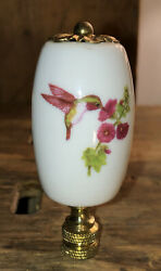 Porcelain and Brass Lamp Finial with Hummingbird And Flower New In Box $9.99
