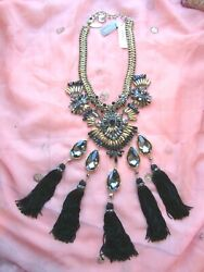 NEW WITH TAG CHICO#x27;S BIB CHANDELIERS STYLE WITH TASSEL amp; JEWELS GORGEOUS $85.99