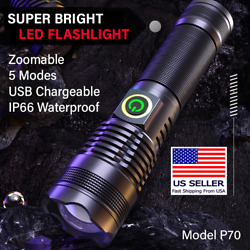 Ultra Bright 100000LM 70W xhp70 LED Flashlight Tactical Torch 26650 Battery $16.98