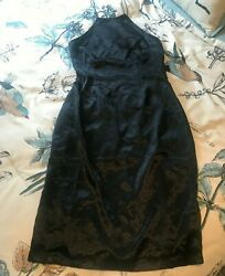 LuLu#x27;s Black Cocktail Dress LARGE Slinky Sleeveless amp; Shiny *NEW WITH TAGS* $20.00
