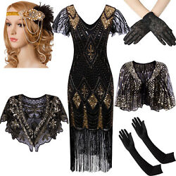 Vintage Fringed 1920s Beaded Flapper Gatsby Wedding Evening Party Cocktail Dress $19.79