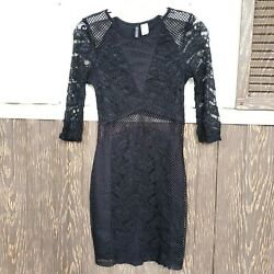 Hamp;M bodycon black dress lace size 6 long sleeve $12.00