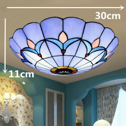 Tiffany Style LED Ceiling Lamp Stained Glass Flush Mount LED Chandelier Light $44.52