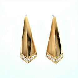 Vintage Monet Earrings Art Deco Gold Tone w Clear Crystals 2quot; Long Dangle Signed $18.00