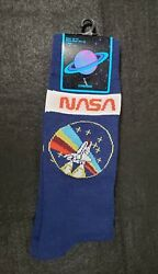 New NASA Mens Novelty Crew Socks WITH NASA logo Space Shuttle Size 10 13 $7.75