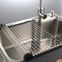 Kitchen Stainless Steel Sink Drain Rack Roll Up Dish Food Drying Drainer Mat XXL $12.38