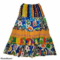 Jam#x27;s World Tiered Ruffle Floral Multi Color Long Boho Hippie Maxi Skirt XS $40.00
