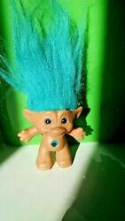 Vintage ACE Novelty Blue Hair 3quot; Troll With Belly Jewel $13.56
